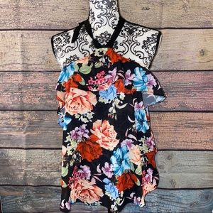 Women's Tie Neck Floral Halter Top Size Small